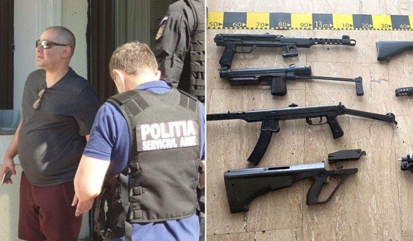Arme de asalt și grenade găsite în vila unui irakian din Dumbrăvița. Arsenalul era fabricat cu imprimante 3D