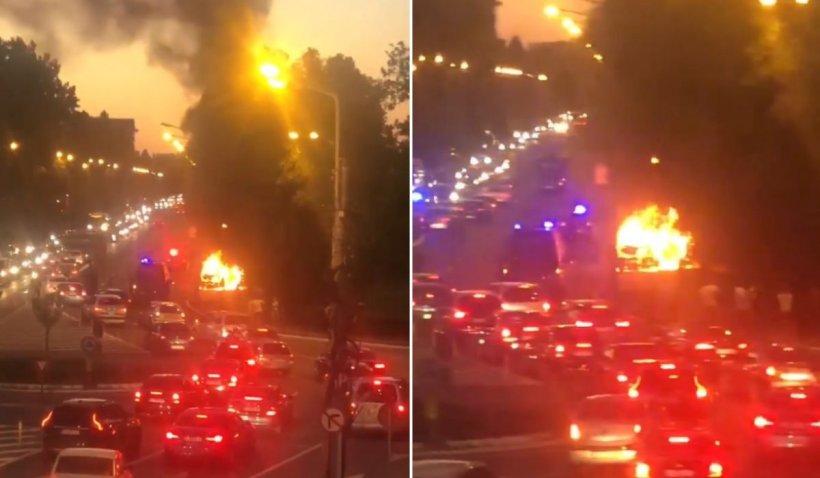 Panică în stațiunea Mamaia, după ce o mașină a luat foc în trafic