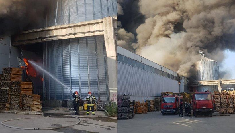 Incendiu uriaș la marginea Bucureștiului. Este pericol de explozie