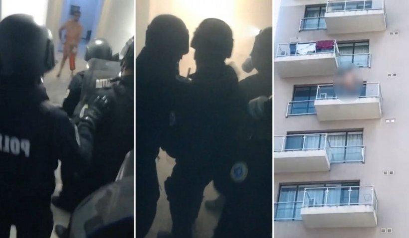 Tânăr 'liniștit' cu grenade de mascați, în București, înainte de a se arunca dezbrăcat de la etaj