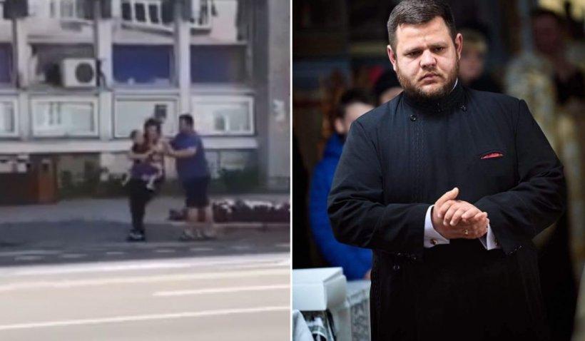 Preot filmat când își bate soția cu copilul în brațe, în Bacău