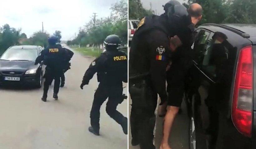 Operațiune spectaculoasă de flagrant într-un sat din Timiș. Tânăr săltat de mascați ca în filme
