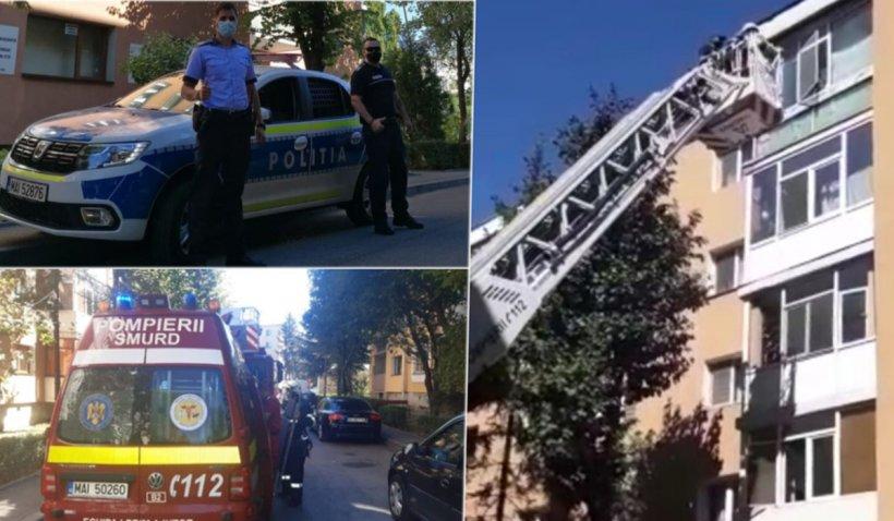 Bătrân de 88 ani, agăţat în afara balconului cu capul în jos, salvat în ultima clipă - Cum au acționat polițiștii