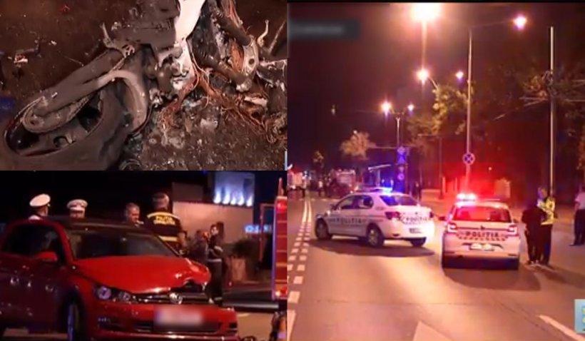 Un motociclist a fost spulberat de o maşină şi aruncat zece metri în aer. Motorul a luat foc, bărbatul, readus miraculos la viaţă