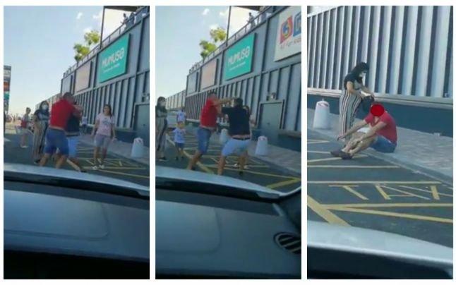 Bătaie ca-n filme în fața unui mall! Tinerii și-au împărțit pumni cu nemiluita de față cu toată lumea