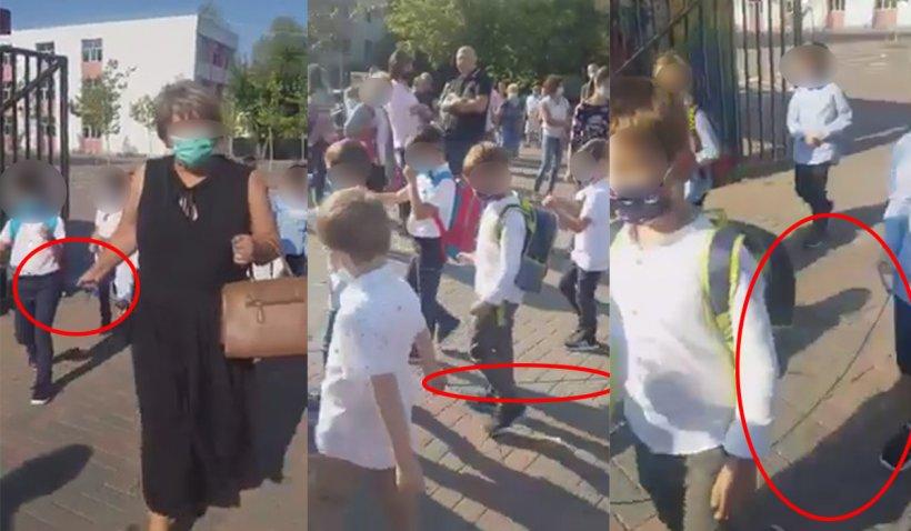 Copii plimbaţi cu sfoara în prima zi de şcoală pentru a păstra distanţarea socială