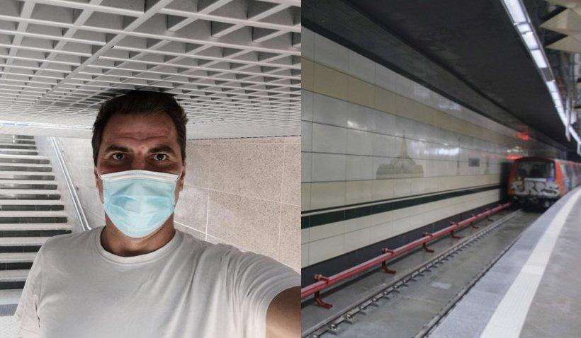 """Un jurnalist de 1,98 metri s-a fotografiat cu capul în tavanul unei staţii de pe traseul noului metrou: """"Jur că nu stau pe vârfuri"""""""