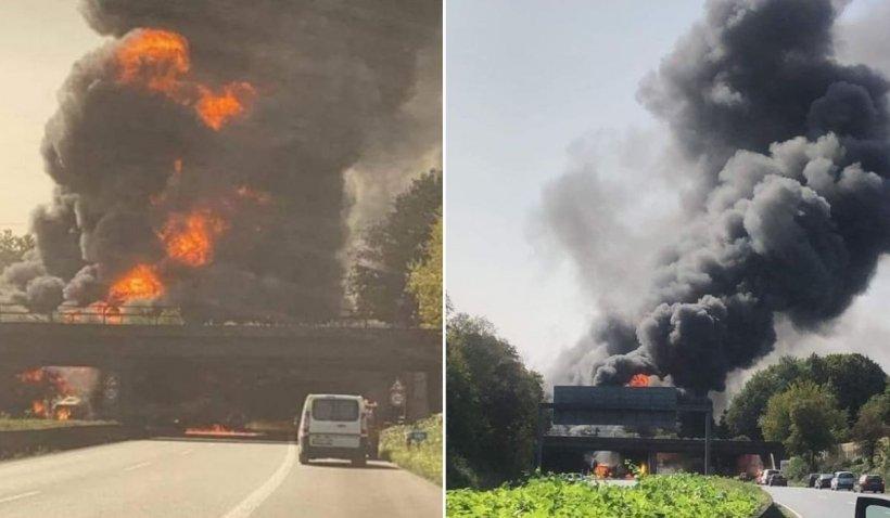 O cisternă cu combustibil a explodat pe autostradă în Germania, după un accident