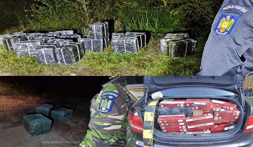 Polițiștii se laudă că au capturat 20.000 de pachete de țigări, abandonate de cărăuși pe malul râului