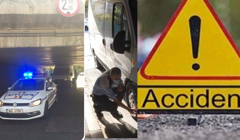 Un poliţist a dezumflat roţile unei dube blocate într-un pasaj, în Cluj