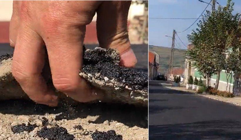 Asfalt care se rupe cu mâna, turnat de primar ca să fure ochii alegătorilor, într-un sat din Alba