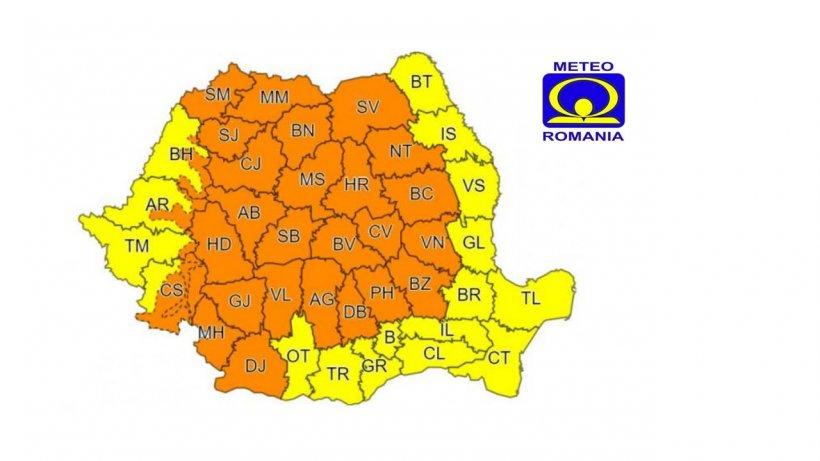 Cod portocaliu de ploi în aproape toată țara! Anunț ANM de ultimă oră
