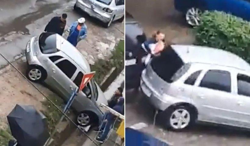 Femeie din Botoșani, la un pas să fie strivită între două mașini, după un accident stupid