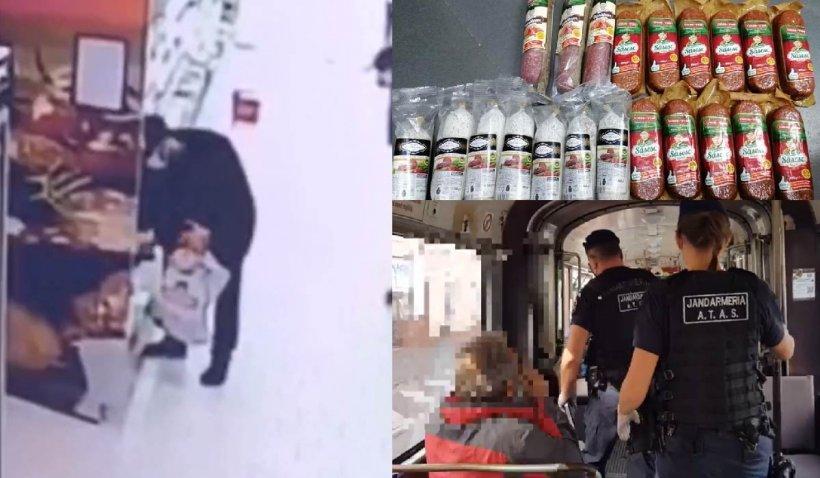 Un bărbat din Arad a atras atenția jandarmilor în tramvai, pentru că nu purta mască și a fost descoperit cu 21 de batoane de salam furate