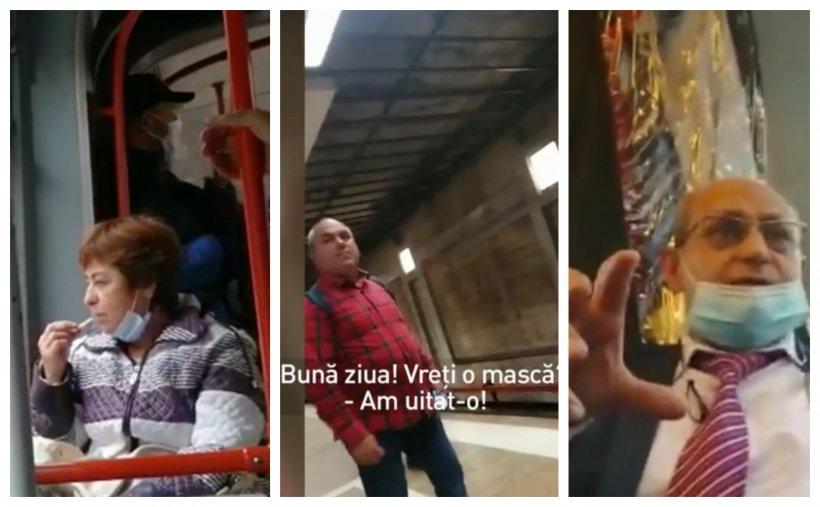 Imagini cu camera ascunsă din mijloacele de transport în comun din București! Unii oameni au devenit experți în a găsi scuze pentru a nu purta masca de protecție