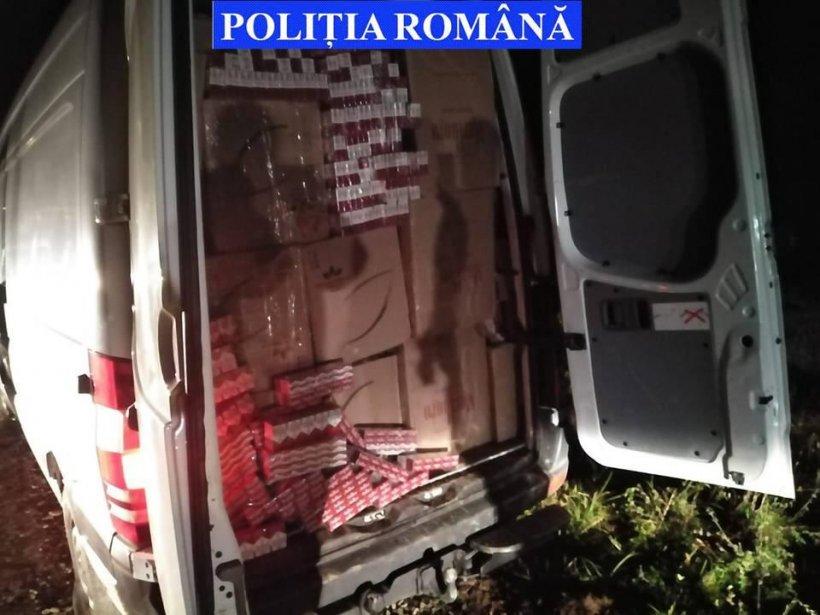 Peste 1.500.000 țigarete de contrabandă confiscate, după o urmărire în trafic și utilizarea noilor dispozitive de blocare a trecerii auto din dotarea Poliției Române