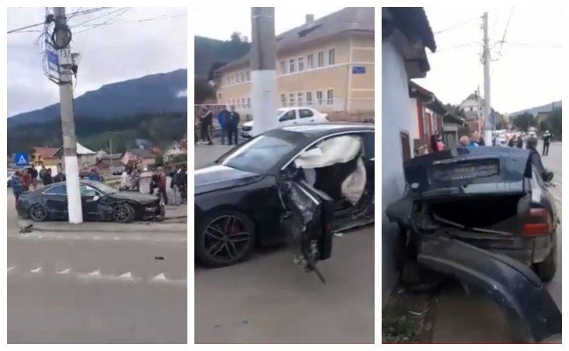 Un şofer de 29 de ani a produs un accident cumplit! A spulberat trei autoturisme, iar apoi s-a înfipt cu maşina într-un stâlp