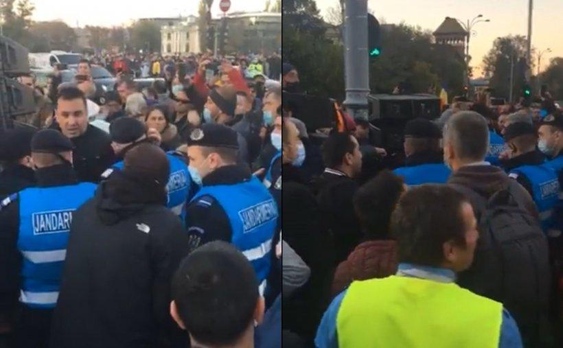 Scandal la protestul organizat în Piața Victoriei. Jandarmii au intervenit în forță
