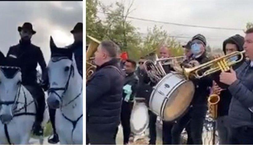 Înmormântare cu lăutari, cai albi şi zeci de oameni, în plină pandemie. Imagini de la funeraliile lui Gelu Mondialu (Foto, video)