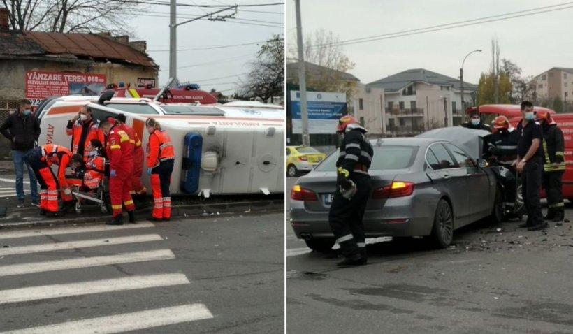Ambulanţă spulberată de un BMW, într-o intersecţie din Bucureşti