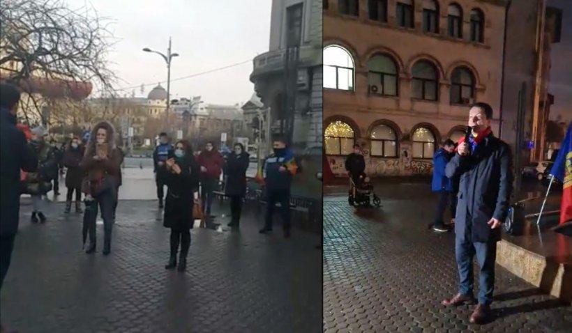 Protest în Piața Universității: Se cere redeschiderea școlilor