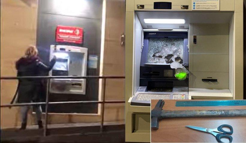 O româncă a distrus un bancomat cu un ciocan şi o foarfecă, în Italia