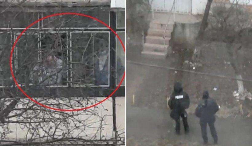Imagini de la negocierea din Oneşti. Cei doi ostatici au fost legaţi şi ţinuţi pe balcon