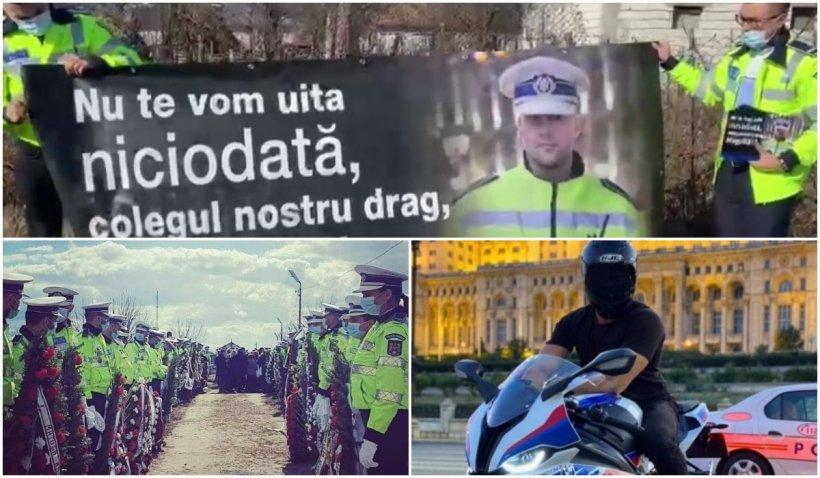Polițistul care și-a pierdut viața în Piața Constituției a fost condus pe ultimul drum!
