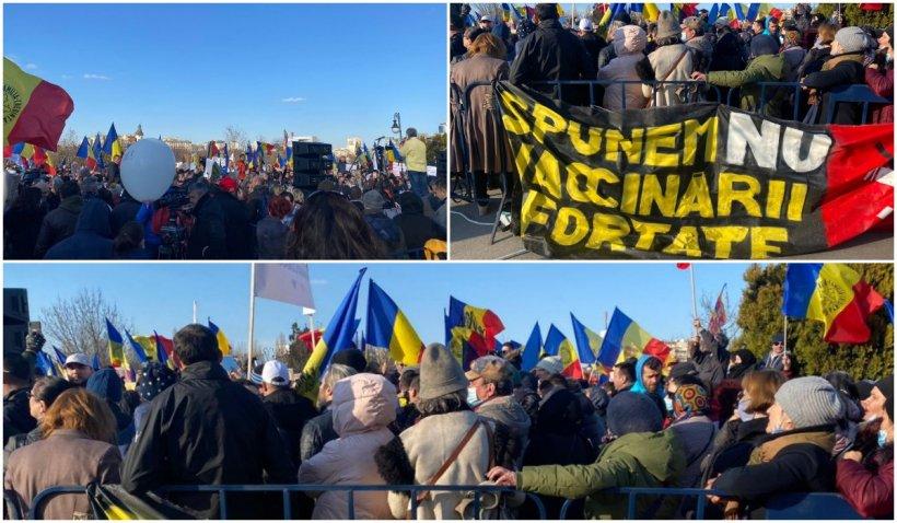 """Mii de oameni la protestele anti-vaccin, în București și în țară. """"Nu  împotriva vaccinării, dar"""
