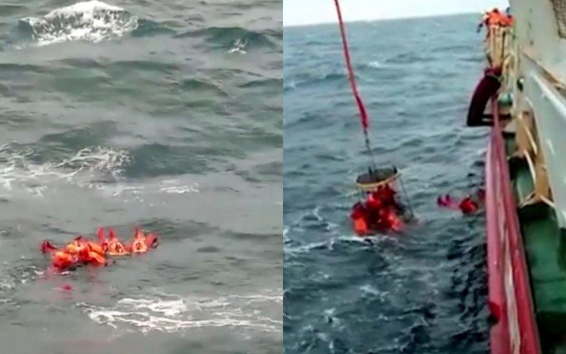 Video. Imagini dramatice din momentul salvării din valurile Mării Negre a marinarilor ucraineni naufragiați