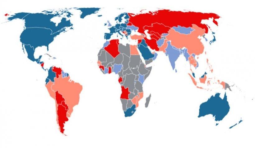 Harta ţărilor în funcţie de vaccinul anti-COVID folosit pentru imunizarea populaţiei