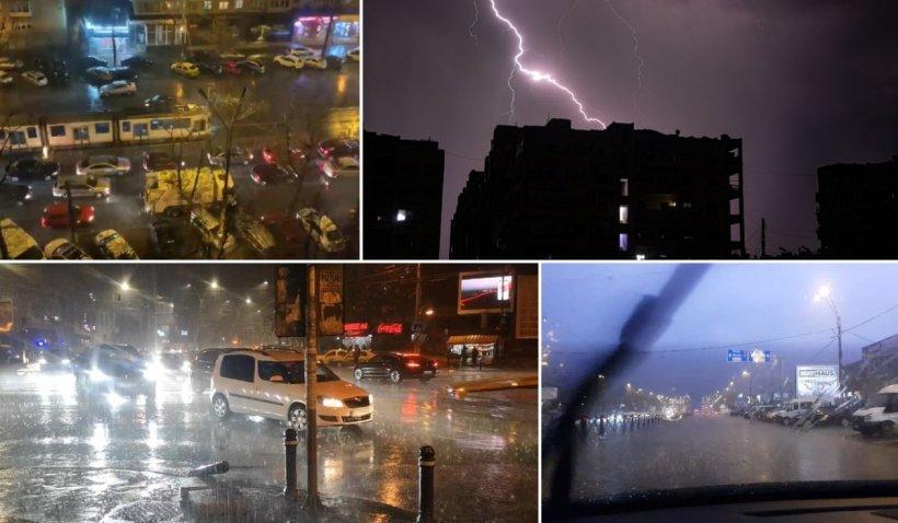 Furtună puternică în Bucureşti, cu tunete şi fugere! Un oraş din Ilfov a rămas fără curent   VIDEO