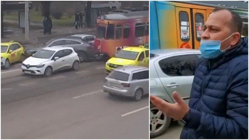 Momentul în care un tramvai din Iaşi face praf şase maşini: ''Sunt în stare de şoc''   VIDEO