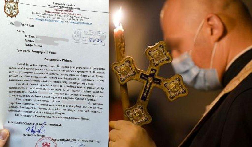 Un preot din Vaslui a fost somat oficial de episcopie să-şi ridice cota de vin liturgic. Reacţia BOR