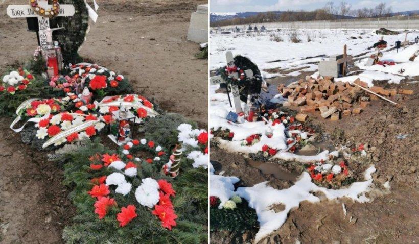"""Mormântul unei fetiţe din Făgăraş, distrus după o petrecere în cimitir: """"Au băut pe mormânt, au dat foc la coroane"""""""
