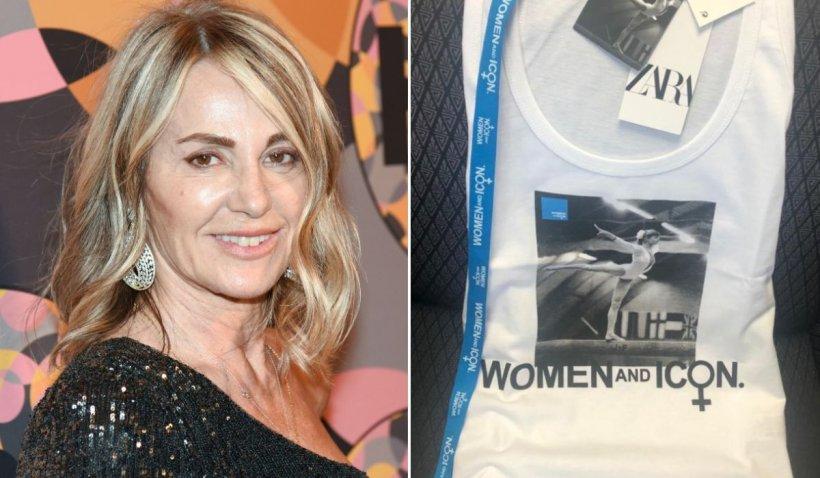 Nadia Comăneci pe bârnă la Montreal, colecţie de tricouri la Zara