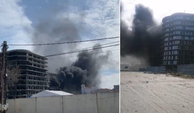 Incendiu uriaş la un hotel aflat în construcţie pe plaja din Mamaia Nord
