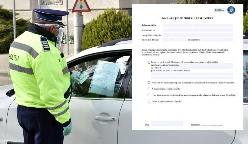 Declarație pe proprie răspundere pentru noile restricţii impuse în România