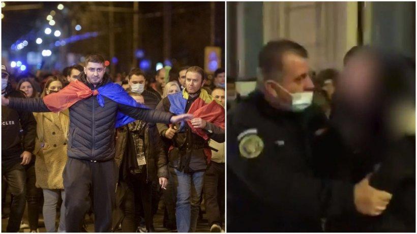 Tânără luată pe sus de jandarmi în Capitală: ''Suntem la protest. Trebuie să purtăm mască la protest?''