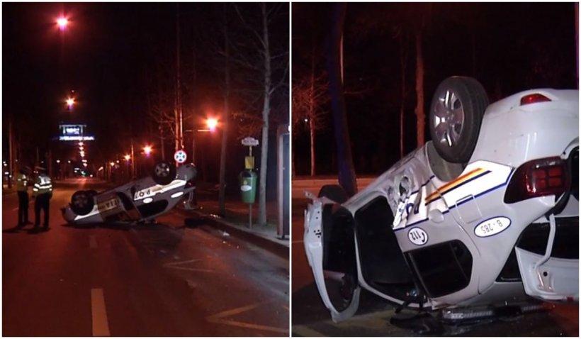 Accident între o mașină de Poliție și un autoturism. Autospeciala s-a răsturnat, o persoană a fost rănită