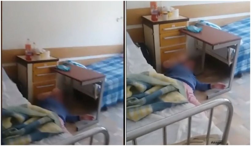 Imagini dramatice din interiorul unui spital COVID-19. O femeie este trântită pe jos într-un salon și nimeni nu o ridică