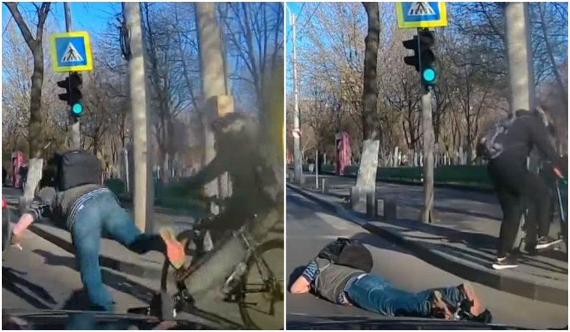 Accident între o bicicletă și o trotinetă. Un bărbat a căzut pe carosabil, chiar în fața unei mașini