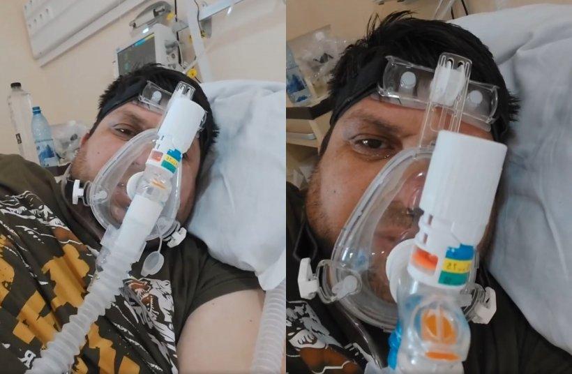 """Un pacient cu COVID, care nu credea în virus, live pe Facebook de pe patul ATI: """"Nu am crezut și uitați cum am ajuns!"""""""