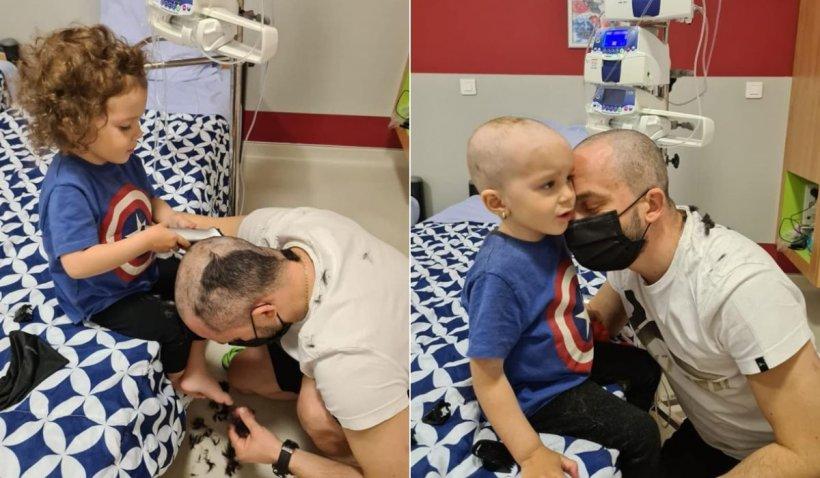 """Un tată şi fiica sa bolnavă s-au tuns reciproc pentru ca micuţa să nu sufere: """"Şi la bine, şi la rău!"""""""