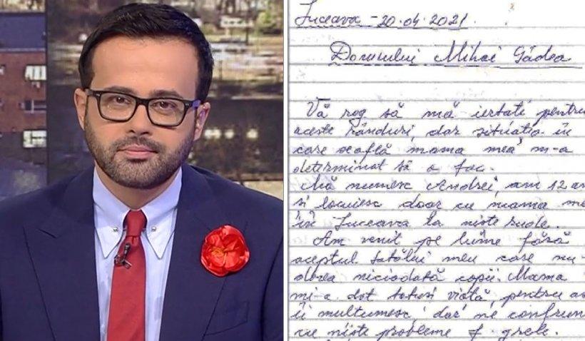 Mihai Gâdea, în lacrimi, la Sinteza Zilei. Scrisoarea emoționantă a unui copil de 12 ani care cere ajutor pentru mama sa