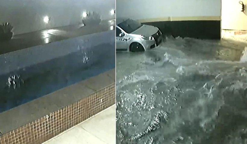 O piscină s-a prăbuşit în parcarea subterană a unui bloc