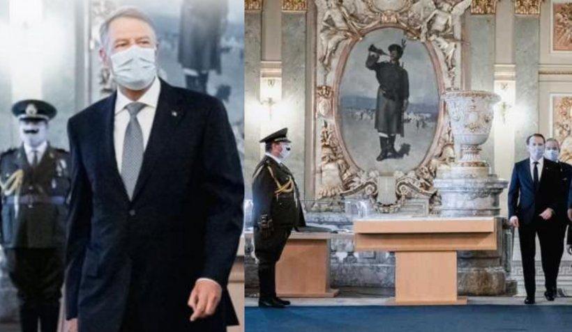 S-a aflat cine este misteriosul ofiţer cu mustaţă peste masca de protecţie care apare alături de Iohannis și Cîțu în fotografii
