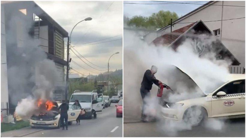 Un taxi a fost cuprins de flăcări uriaşe în plină stradă, la Cluj-Napoca