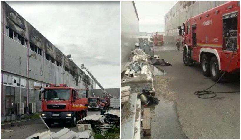 Incendiu puternic la o fabrică de hârtie igienică din Cluj