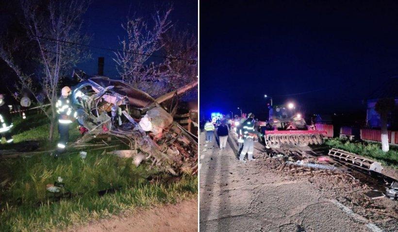 Tânăr mort pe loc într-o maşină care a ajuns într-un copac, după impactul cu un tractor, în Clit, Suceava